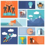 Leadership icons flat set Royalty Free Stock Image