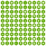 100 leadership icons hexagon green. 100 leadership icons set in green hexagon isolated vector illustration Royalty Free Stock Image