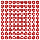 100 leadership icons hexagon red. 100 leadership icons set in red hexagon isolated vector illustration Stock Image