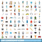 100 leadership icons set, cartoon style Stock Image