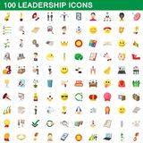 100 leadership icons set, cartoon style. 100 leadership icons set in cartoon style for any design illustration stock illustration
