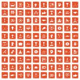 100 leadership icons set grunge orange. 100 leadership icons set in grunge style orange color isolated on white background vector illustration vector illustration