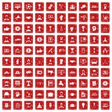 100 leadership icons set grunge red. 100 leadership icons set in grunge style red color isolated on white background vector illustration Royalty Free Stock Photo