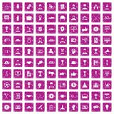 100 leadership icons set grunge pink. 100 leadership icons set in grunge style pink color isolated on white background vector illustration Stock Illustration