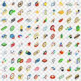 100 leadership icons set, isometric 3d style Royalty Free Stock Photo