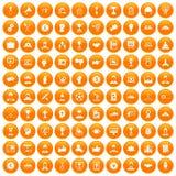 100 leadership icons set orange. 100 leadership icons set in orange circle isolated on white vector illustration Royalty Free Stock Image