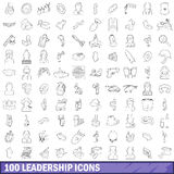 100 leadership icons set, outline style Stock Photo