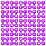 100 leadership icons set purple. 100 leadership icons set in purple circle isolated on white vector illustration Royalty Free Stock Image