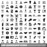 100 leadership icons set in simple style Royalty Free Stock Photo