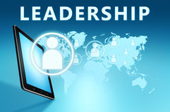 Leadership. Illustration with tablet computer on blue background Royalty Free Stock Image