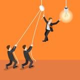 Leadership leader teamwork bulb lamp flat 3d isometric vector Royalty Free Stock Photos