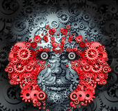 Leadership And Learning. Business and education concept with a group of human heads made from gears and cog wheels as a metaphor for creative innovative vision Royalty Free Stock Photos
