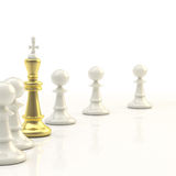 Leadership: light chess background. Leadership and business: light chess background of pawn row with outstanding golden king Royalty Free Stock Photos
