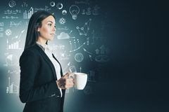 Leadership and management concept. Attractive thoughtful young caucasian businesswoman with coffee cup and creative business sketch stock images