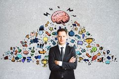 Leadership and marketing concept. Abstract image of businessman with creative business sketch Stock Photography
