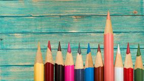 Leadership Pencil Standing. Out From The Crowd Education Individuality Sharp standout Royalty Free Stock Images
