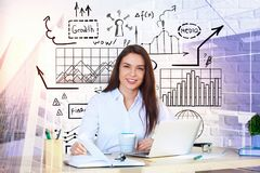Leadership and plan concept. Smiling european businesswoman sitting at abstract workplace with business sketch and city view. Leadership and plan concept. Double Royalty Free Stock Photo