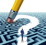 Leadership Questions. Searching for solutions with a businessman walking through a complicated maze opened up by a pencil eraser question mark as a business Stock Photo