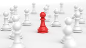 Red pawn of chess. Leadership, red pawn of chess, standing out from the crowd of white pawns. 3D Rendering Royalty Free Illustration