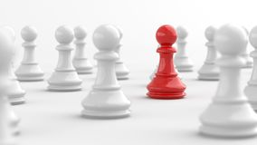 Red pawn of chess. Leadership, red pawn of chess, standing out from the crowd of white pawns. 3D Rendering Royalty Free Stock Photo