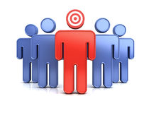 Leadership or red target man standing out from the crowd concept. Over white background with shadow and reflection. 3D rendering Royalty Free Stock Photos