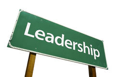 Leadership road sign. Isolated on a white background. Contains Clipping Path Royalty Free Stock Photography
