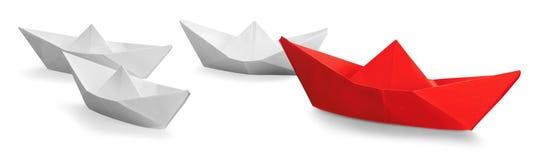 Leadership. Sailing Creativity Origami Shipping Paper Paper Boat Stock Photos