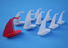 Leadership. Ships. 3d rendering. Leadership. March 19th, 2015 Stock Photography