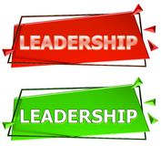 Leadership sign. Leadership modern 3d sign isolated on white background,color red and green Stock Images
