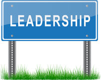 Leadership Signpost. A blue signpost about leadership on grass stock illustration