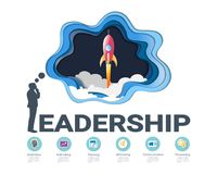 Leadership skills infographic template, With some simple steps or options to help you design for your business. Royalty Free Stock Photos