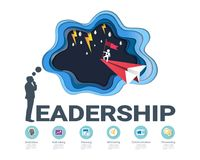Leadership skills infographic template, With some simple steps or options to help you design for your business. Royalty Free Stock Photo