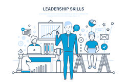 Leadership skills, leadership development, management, career growth, improvement personal qualities. Leadership skills and leadership development, management Stock Photos
