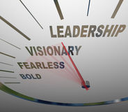 Leadership Speedometer Vision Fearless Bold Direction. The words Leadership, Vision, Fearless and Bold on a speedometer racing in a new direction to achieve a Royalty Free Stock Photo