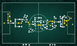 Leadership strategy written on tactic chalkboard. Leadership strategy concept vector with white and yellow marks on soccer tactic chalkboard Royalty Free Stock Image