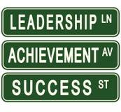 Leadership Success Challenge Business Motivational Street Signs. Success goal setting achievement stock illustration