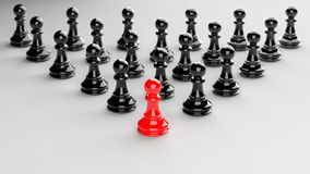 Red pawn of chess. Leadership, success, and teamwork concept, red pawn of chess leading black pawns. 3D rendering Royalty Free Stock Photo