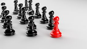 Red pawn of chess. Leadership, success, and teamwork concept, red pawn of chess leading black pawns. 3D rendering Royalty Free Stock Images