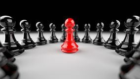 Red pawn of chess. Leadership, success, and teamwork concept, red pawn of chess, standing out from the crowd of black pawns. 3D rendering Royalty Free Illustration