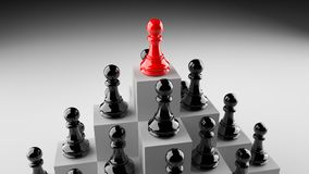 Red pawn of chess. Leadership, success, and teamwork concept, red pawn of chess, standing out from the crowd of black pawns. 3D rendering Vector Illustration