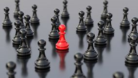 Red pawn of chess. Leadership, success, and teamwork concept, red pawn of chess, standing out from the crowd of black pawns. 3D rendering Stock Illustration