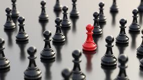 Red pawn of chess. Leadership, success, and teamwork concept, red pawn of chess, standing out from the crowd of black pawns. 3D rendering Stock Photos