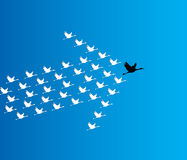 Leadership and Synergy Concept Illustration : A number of Swans flying against a deep blue sky Stock Photos