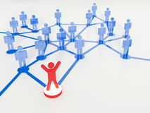 Leadership in the team. Teamwork and leadership. Group of people connected with blue lines with one red figure ahead as a leader Royalty Free Stock Images
