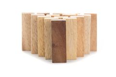 Leadership and team abstract business concept, wooden block on w Royalty Free Stock Photography
