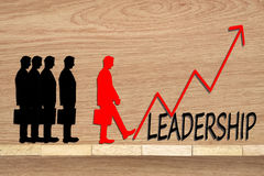 Leadership and team abstract business concept Wooden blocks and Royalty Free Stock Photo