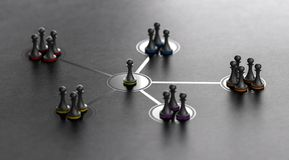 Leadership And Team Cohesiveness Over Black Background stock illustration