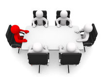 Leadership and team at conference table. This is a 3d render illustration Stock Photo