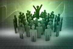 Leadership and team. 3d person icon leadership and team Royalty Free Stock Photography