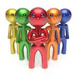 Leadership teamwork characters men crowd businessman. Commander team individuality five cartoon persons icon colorful social relationship friends concept 3d Stock Photo